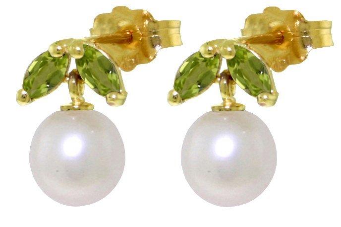 14k Gold Pearl with Peridot Petite Earrings