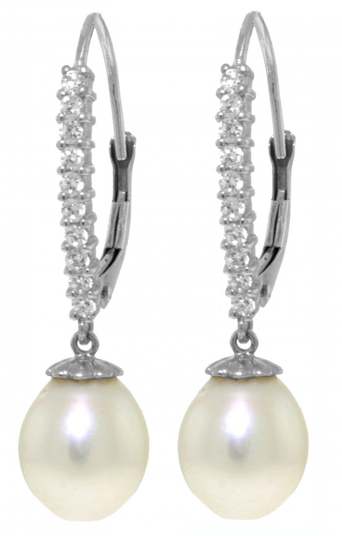 14k Gold Diamond Leverback Earrings with Pearls