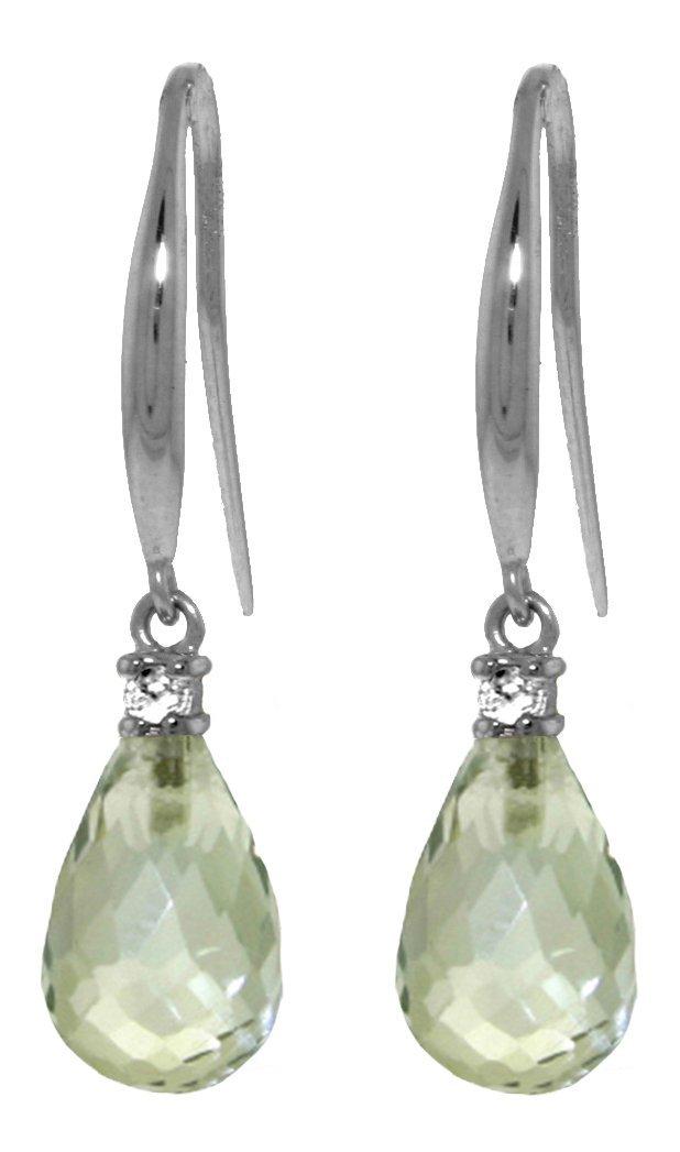14k White Gold 4.50ct Green Amethyst Fish Hook Earrings