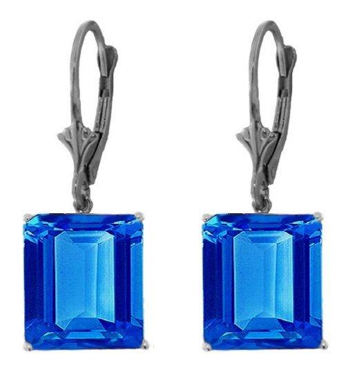14k White Gold 13.0ct Blue Topaz Dangle Earrings