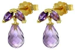 14k Yellow Gold Amethyst Petite Earrings