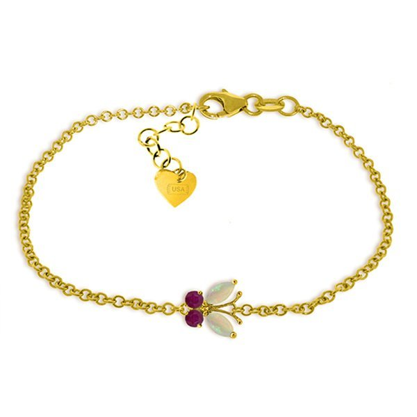 14k Gold Opal and Ruby Butterfly Bracelet