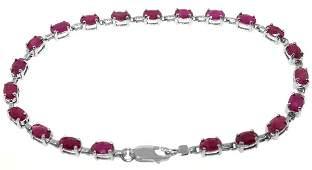 14k White Gold Tennis Bracelet with Rubies
