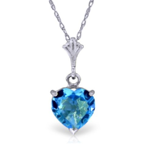 1.15ct Blue Topaz Heart Necklace in 14k White Gold