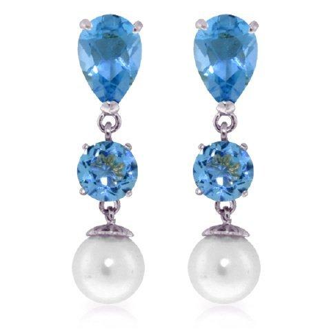 Blue Topaz and Pearl Dangle Earrings in 14k White Gold