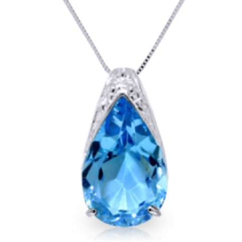 6.00ct Blue Topaz Drop Style Necklace in 14k White Gold