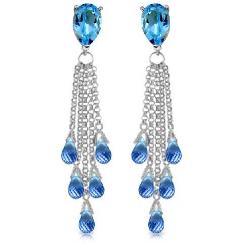 Blue Topaz Drop Earrings in 14k White Gold