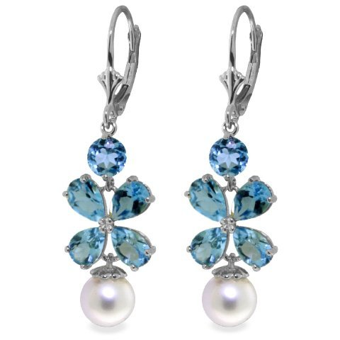 Blue Topaz and Pearl Flower Earrings in 14k White Gold