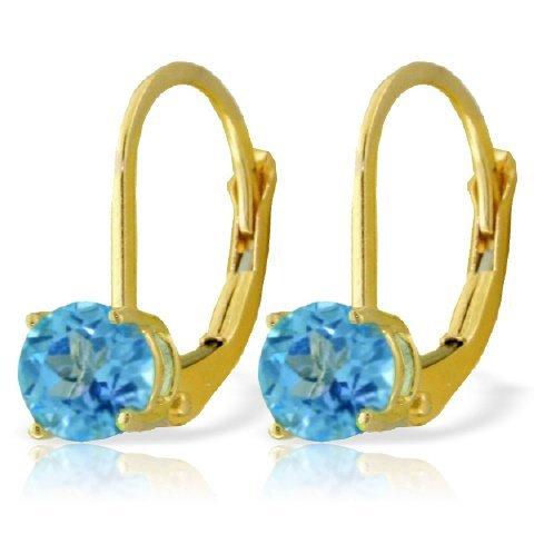 1.20ct Blue Topaz Leverback Earrings in 14k Yellow Gold