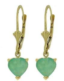 Emerald Petite Heart Earrings in 14k Yellow Gold