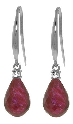 14k Gold Ruby with Diamond Fish Hook Earrings