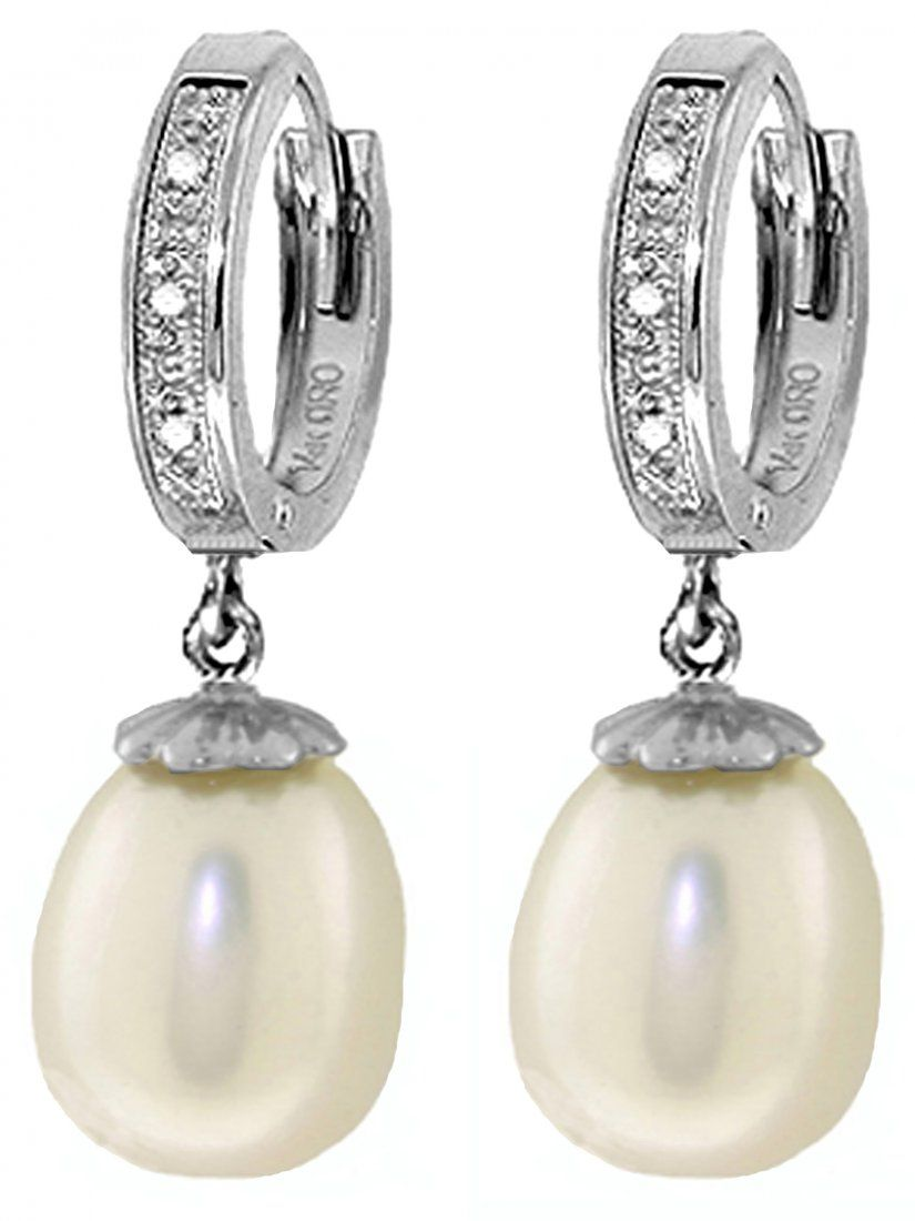 Pearl Dangle Earrings with Diamond Accent in 14k Gold