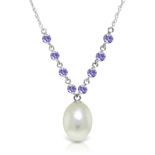 14k Gold Pearl with Tanzanite Stationed Necklace