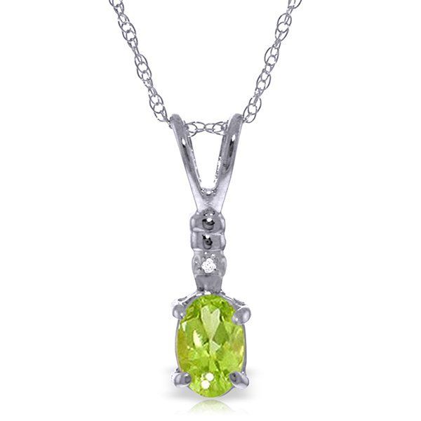 14k Gold 0.45ct Peridot Necklace with Diamond