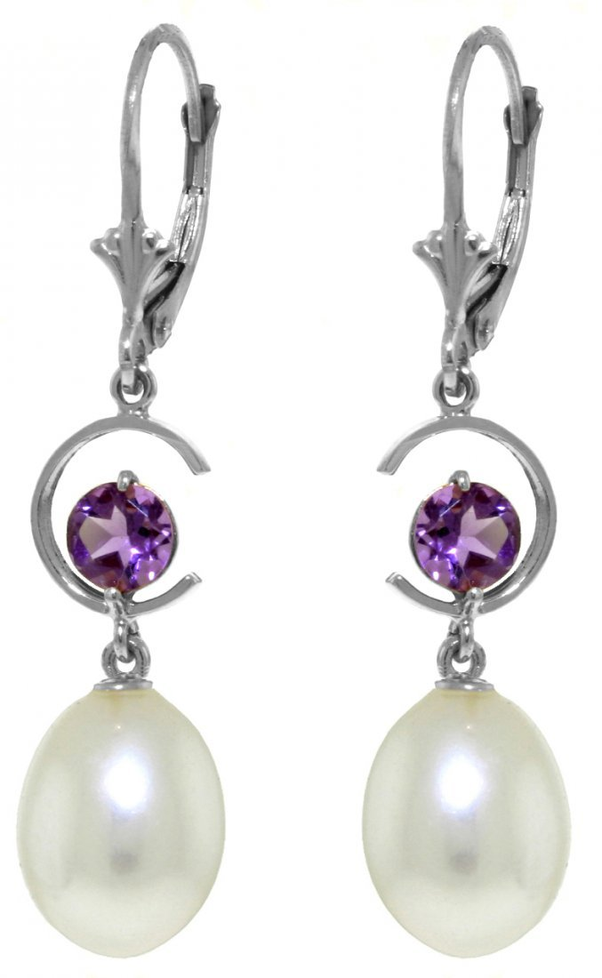 14k White Gold Amethyst and Pearl Duo Earrings