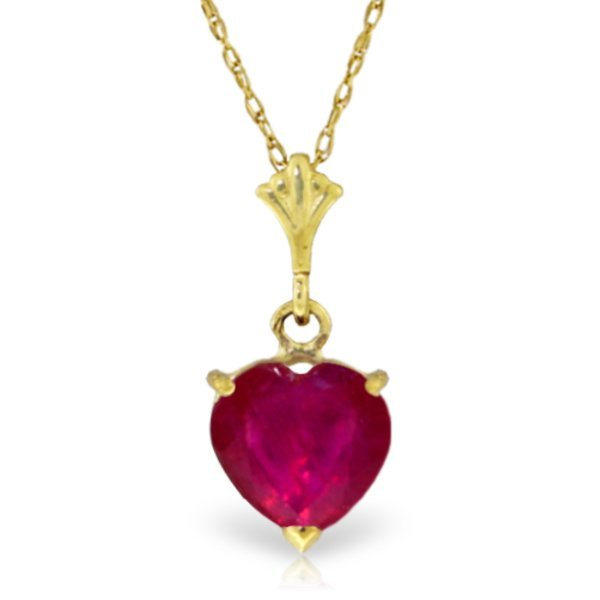 14k Yellow Gold 1.45ct Ruby Heart Necklace