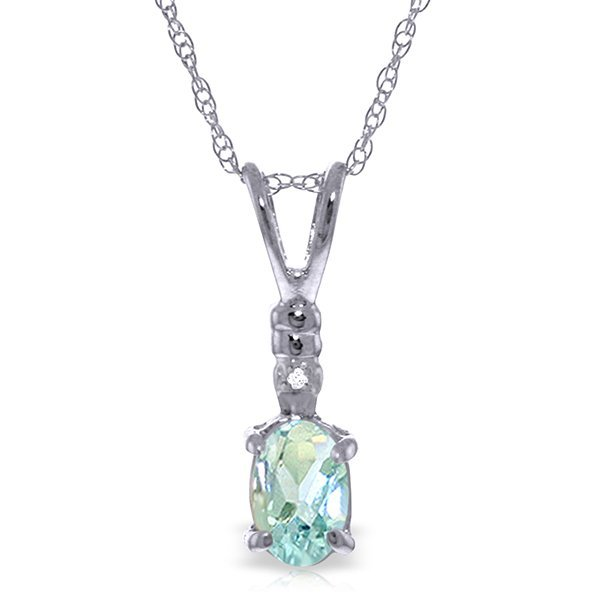 14k Gold 0.45ct Aquamarine Necklace with Diamond