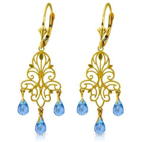 3.75ct Blue Topaz Fleur-De-Lis Earrings In 14k Gold