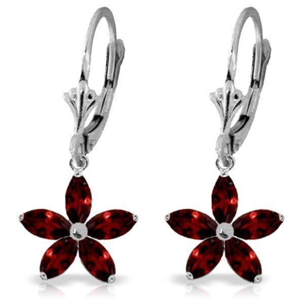 14k White Gold 2.80ct Garnet Flower Earrings