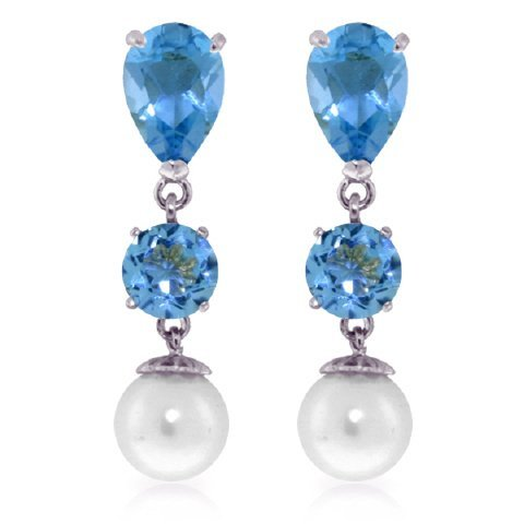Blue Topaz and Pearl Dangle Earrings in 14k White Gold