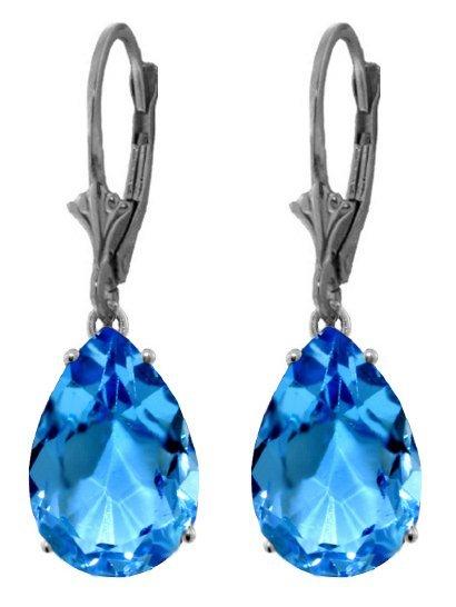 14k White Gold 13.0ct Blue Topaz Earrings