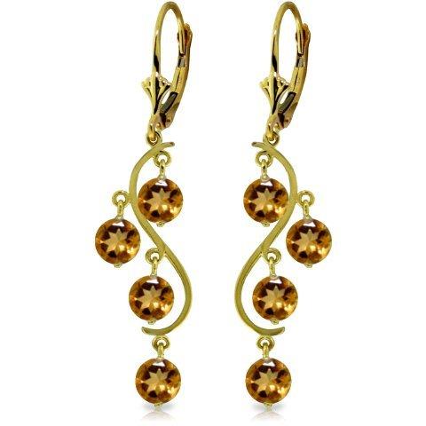 4.95ct Citrine Chandelier Earrings In 14k Yellow Gold