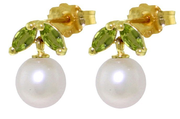 14k Gold Pearl With .40ct Peridot Petite Earrings
