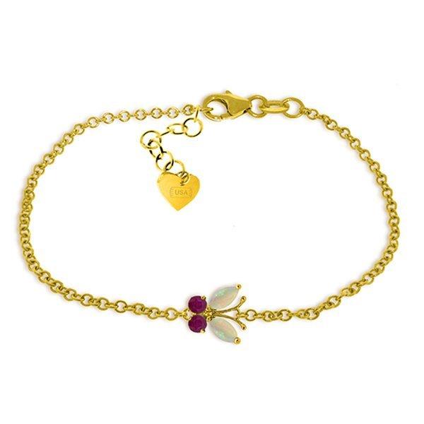 14k Gold 0.40ct  Opal And Ruby Butterfly Bracelet