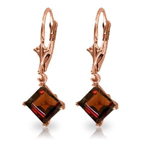 14k Gold 3.20ct Garnet Dangle Earrings