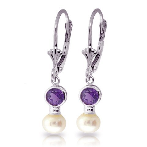 Freshwater Pearl and Amethyst Earrings in 14kWhite Gold