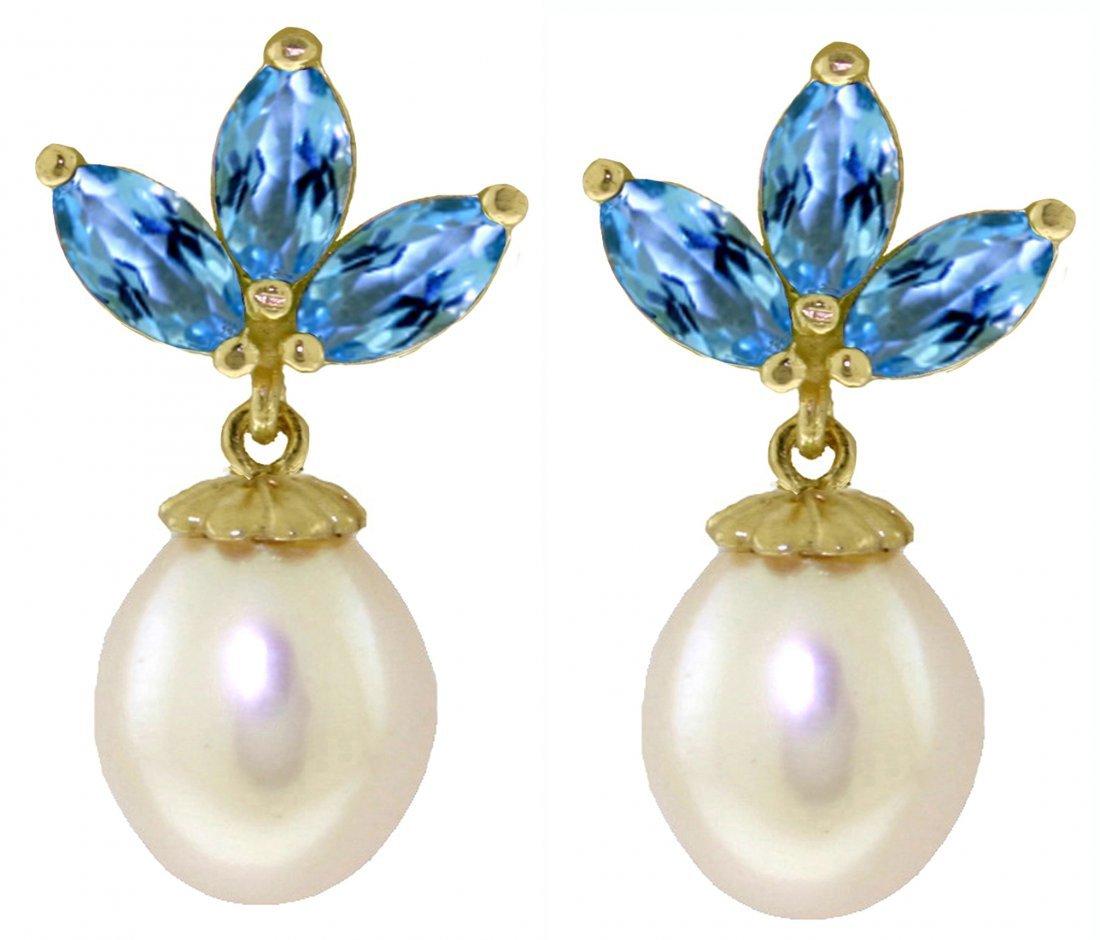 1.50ct Blue Topaz And Pearl Fancy Earrings In 14k Gold