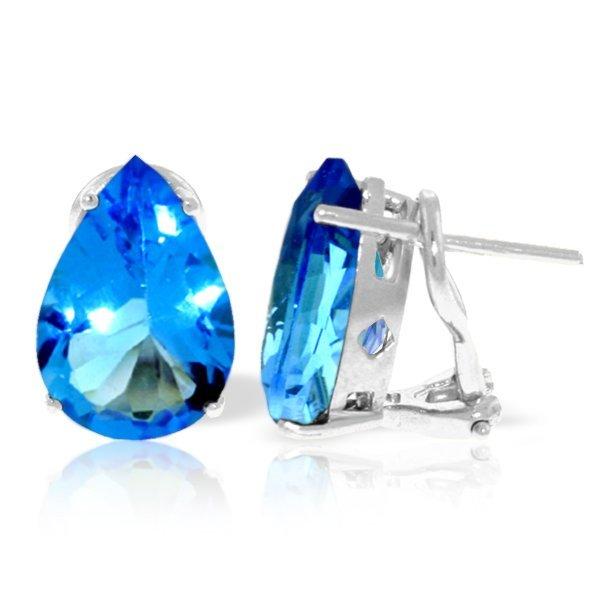10.00ct Blue Topaz Teardrop Earrings in 14k Gold