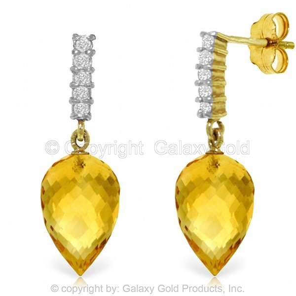19.00ct Citrine and Diamond Earrings in 14k Gold