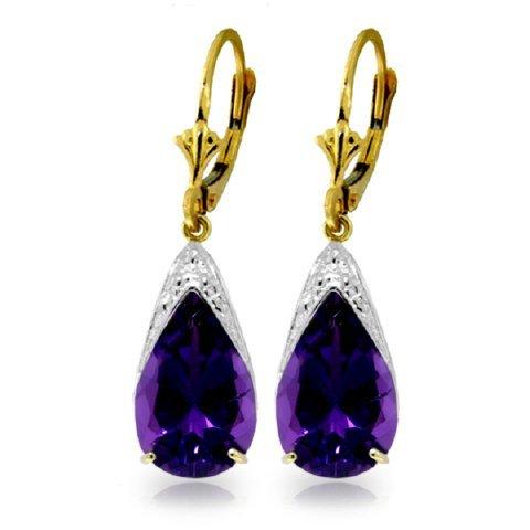 10.00ct  Amethyst Drop Earrings In 14k Yellow Gold