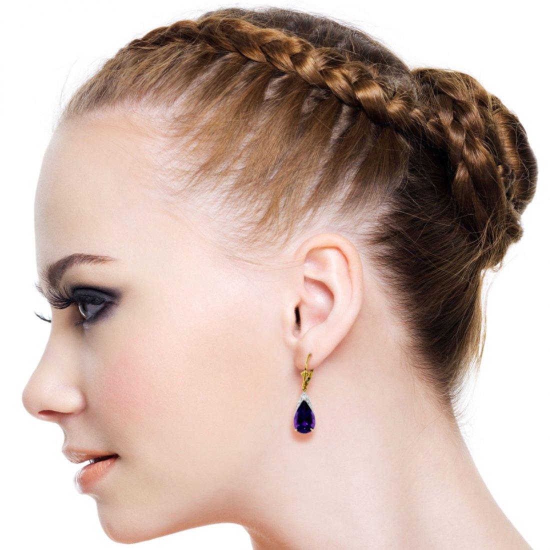 10.00ct  Amethyst Drop Earrings In 14k Yellow Gold - 2
