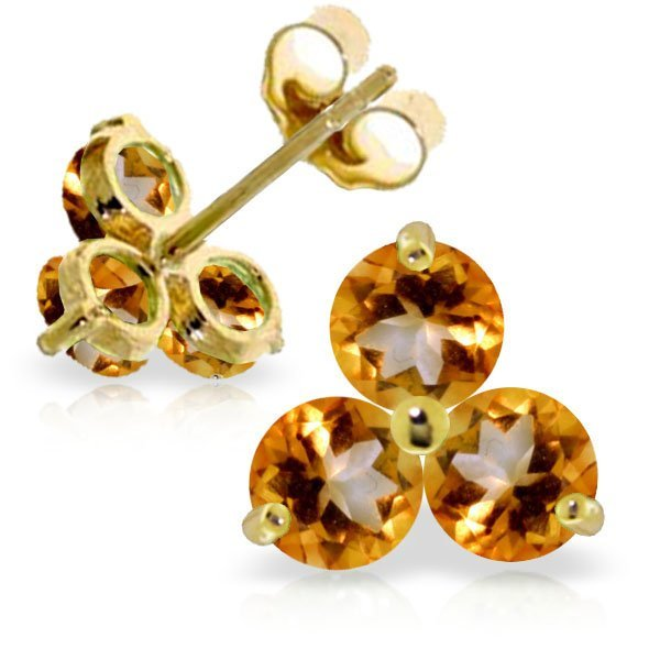 14K YELLOW GOLD 1.50ct CITRINES STUD EARRING