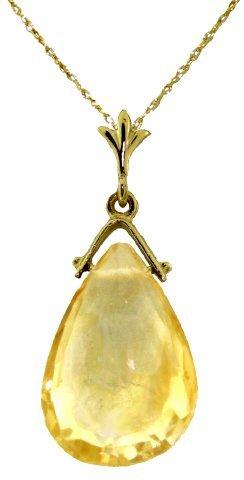 14K YELLOW GOLD 5.10ct BRIOLETTE CITRINE NECKLACE