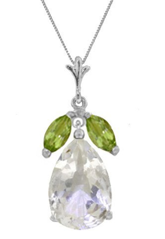 14K W.GOLD 6.00ct WHITE TOPAZ & PERIDOTS NECKLACE