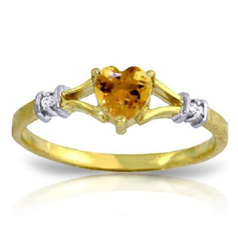 14K Y. GOLD 0.02ct DIAMONDS & 0.45ct CITRINE RING