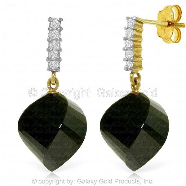 14K DIAMOND & 31.0ct TWISTED BLACK SPINEL EARRING