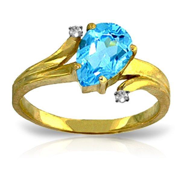 14K YELLOW GOLD DIAMONDS & 1.50ct BLUE TOPAZ RING