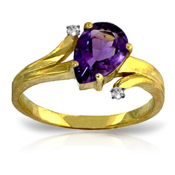 14K YELLOW GOLD DIAMOND & 1.50ct AMETHYST RING