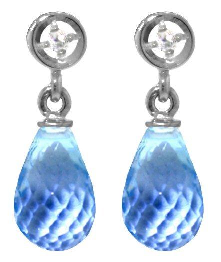 14k White Gold 2.70ct Blue Topaz & Diamond Earrings