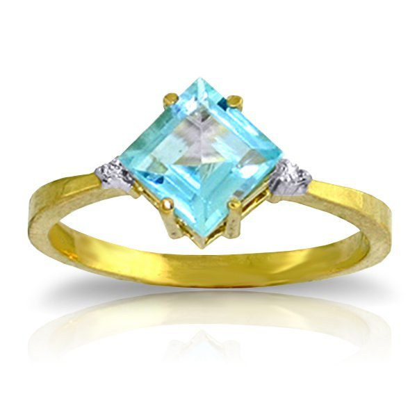 14K YG .02ct DIAMOND & 1.75ct SQUARE BLUE TOPAZ RING