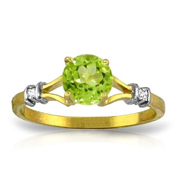 14K YG 0.02ct DIAMOND & 1.00ct ROUND PERIDOT RING