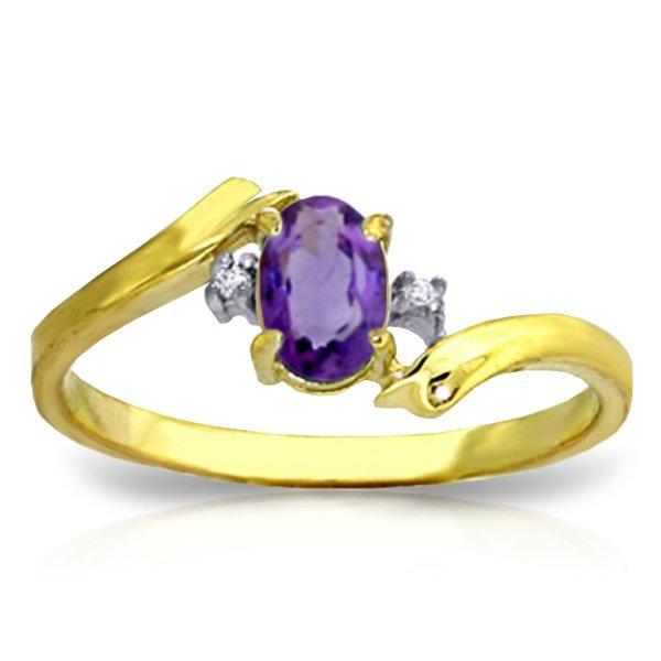 14K Y. GOLD DIAMOND & 0.45ct OVAL AMETHYST RING