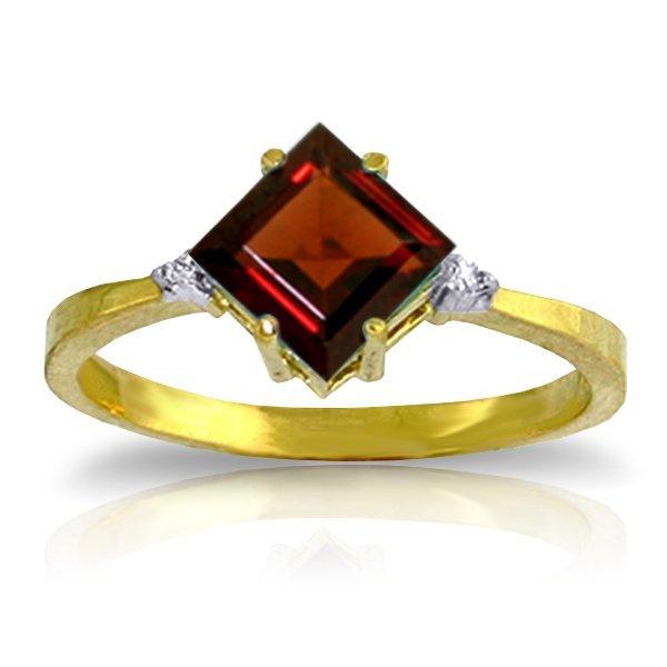 14K YELLOW GOLD .02ct DIAMOND & 1.75ct GARNET RING