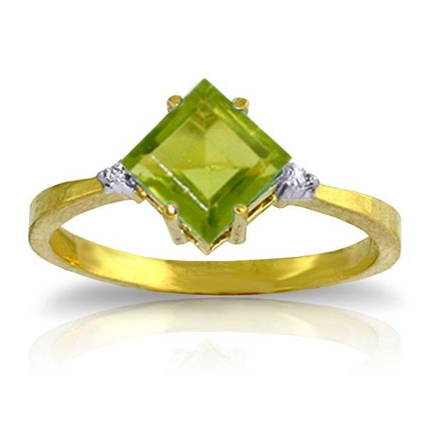 14K YG 0.02ct DIAMOND & 1.75ct SQUARE PERIDOT RING