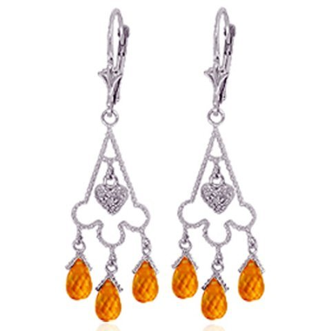 14k Gold Citrine Chandelier Earrings with Diamonds