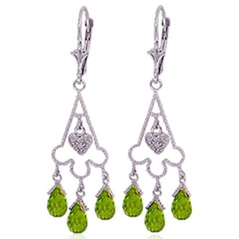 14k Gold Peridot Chandelier Earrings with Diamonds